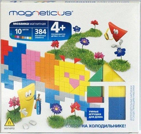 Мозаика магнитная Magneticus Гусеница/Петух 384 элемента, 10 цветов без поля ИГРуС Magneticus, Магнетикус