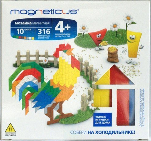 Мозаика магнитная Magneticus Петух/Птица на обруче 316 элементов, 10 цветов без поля ИГРуС Magneticus, Магнетикус