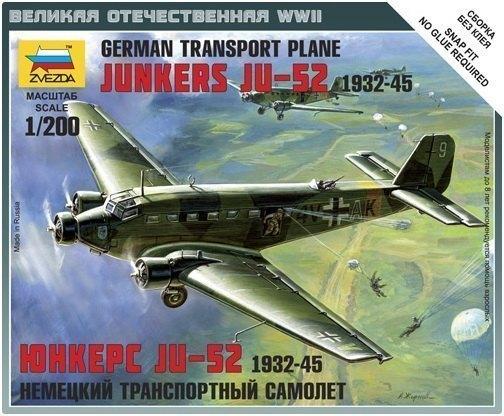Сборная модель Немецкий самолет Юнкерс Ю-52 6139 Звезда
