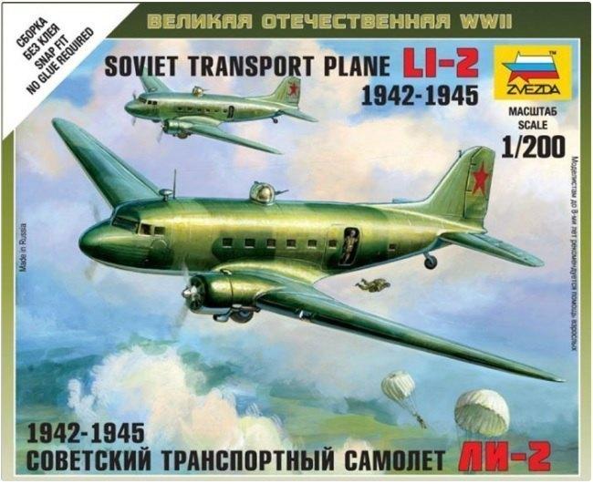 Сборная модель Советский транспортный самолет Ли-2 6140 Звезда