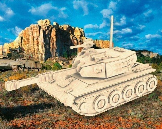 Сборная деревянная модель Танк П050 Мир деревянных игрушек МДИ