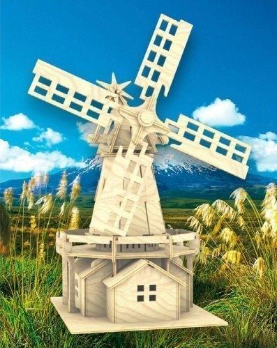 Сборная деревянная модель Ветряная мельница П056 Мир деревянных игрушек МДИ