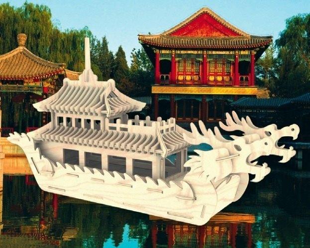 Сборная деревянная модель Лодка Дракона большая П085 Мир деревянных игрушек МДИ