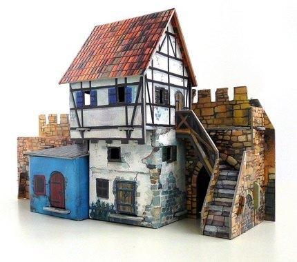 Сборная модель из картона Дом у стены Умная бумага