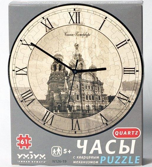 Часы-пазл Спас на Крови с часовым механизмом Умная бумага