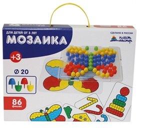 Мозаика крупная для малышей 83 фишки, диаметр 20 мм 15006 Плейдорадо