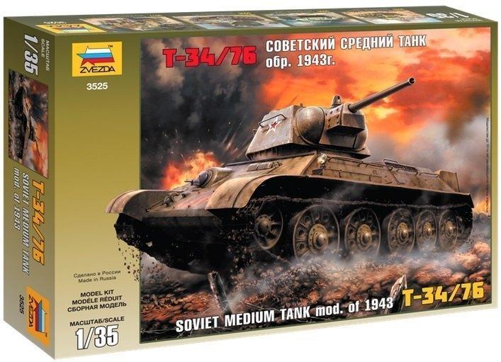 Сборная модель Советский средний танк Т34/76 образец 1943 г. 3525 Звезда