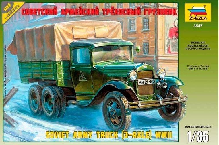 Сборная модель Советский армейский трехосный грузовик Газ-ААА 3547 Звезда