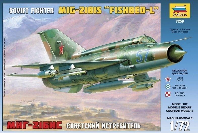 Сборная модель самолета Советский истребитель МиГ-21БИС 7259 Звезда