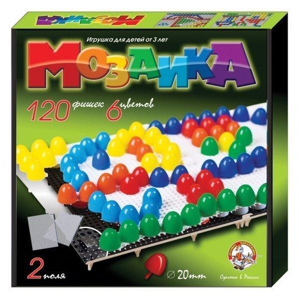 Мозаика пластмассовая 120 фишек 20 мм 02001 Десятое королевство