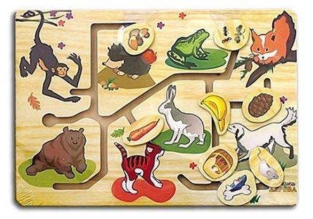 Деревянная развивающая игрушка Лабиринт Чем питаются животные П-9762 Рыжий кот
