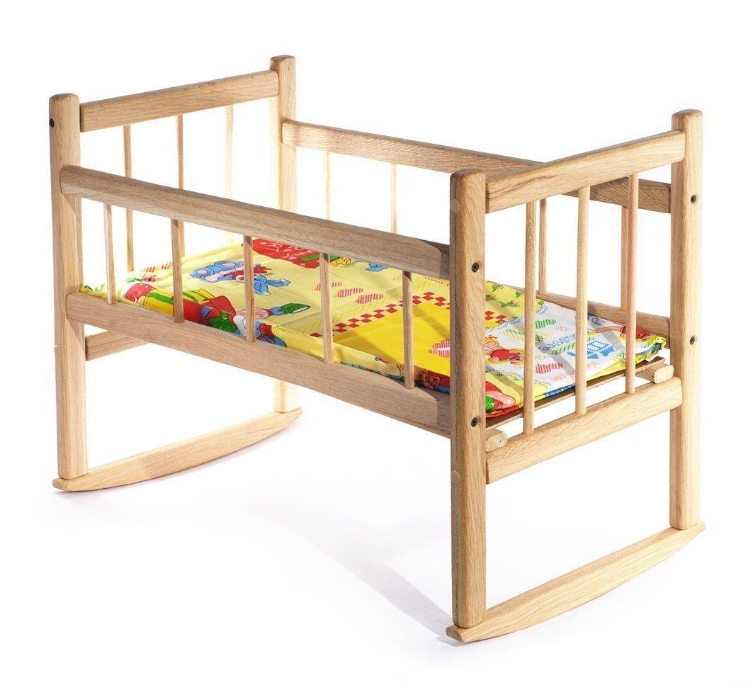 Кроватка для кукол деревянная с матрасом 7887 Бэмби