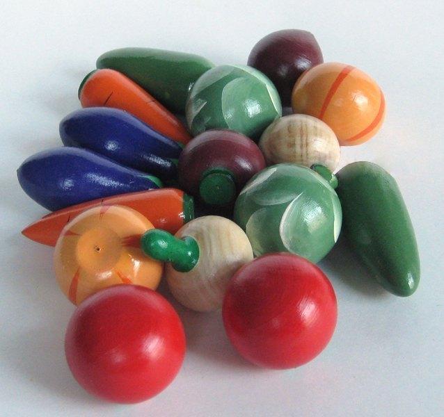 Игрушечный набор Овощи деревянные крашеные 16 шт изделия народных промыслов