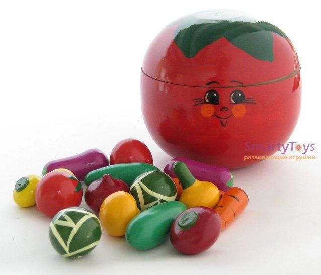 Игрушечный набор Овощи деревянные в помидоре Р-45/785 изделия народных промыслов